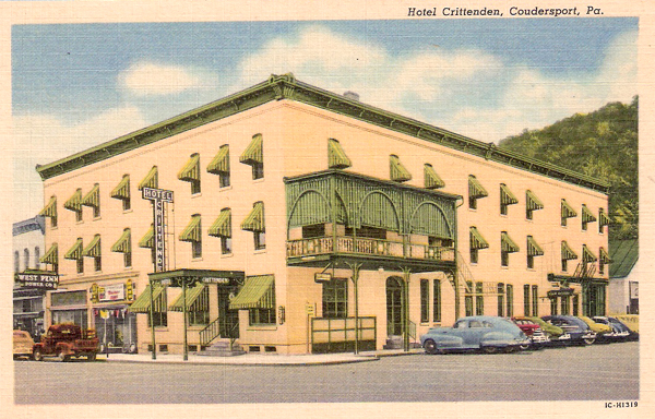 Hotel Crittenden In Coudersport Above July 1999 Photo Left 1940s Postcard Curt Teich Archives Lake County Illinois Discovery Museum
